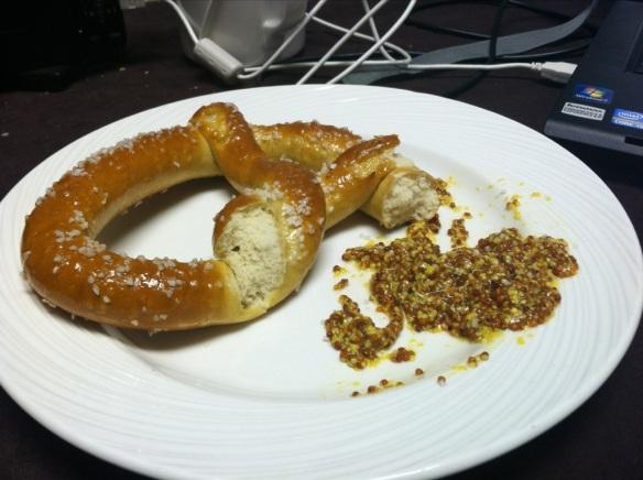 pretzel with mustard
